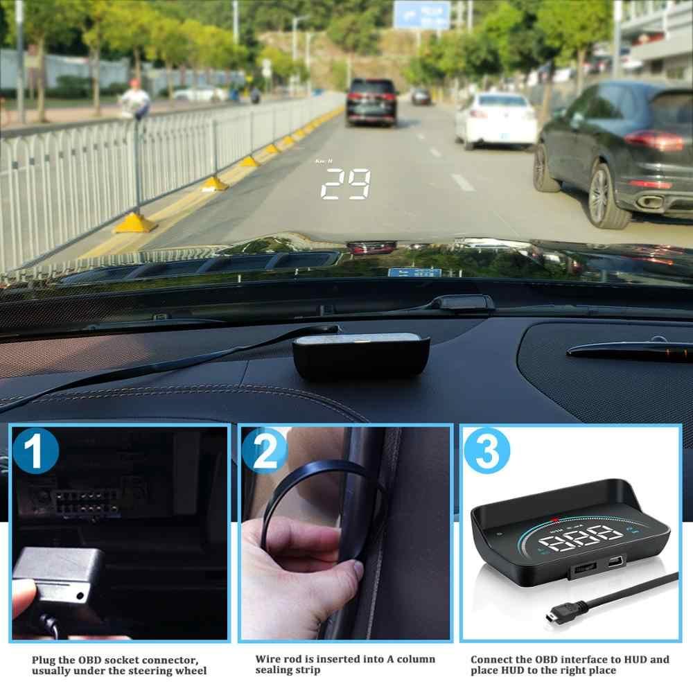 GEYIREN M8 รถ HUD Head Up จอแสดงผล OBD2 II EUOBD Overspeed โปรเจคเตอร์กระจกรถยนต์อัตโนมัติแรงดันไฟฟ้า
