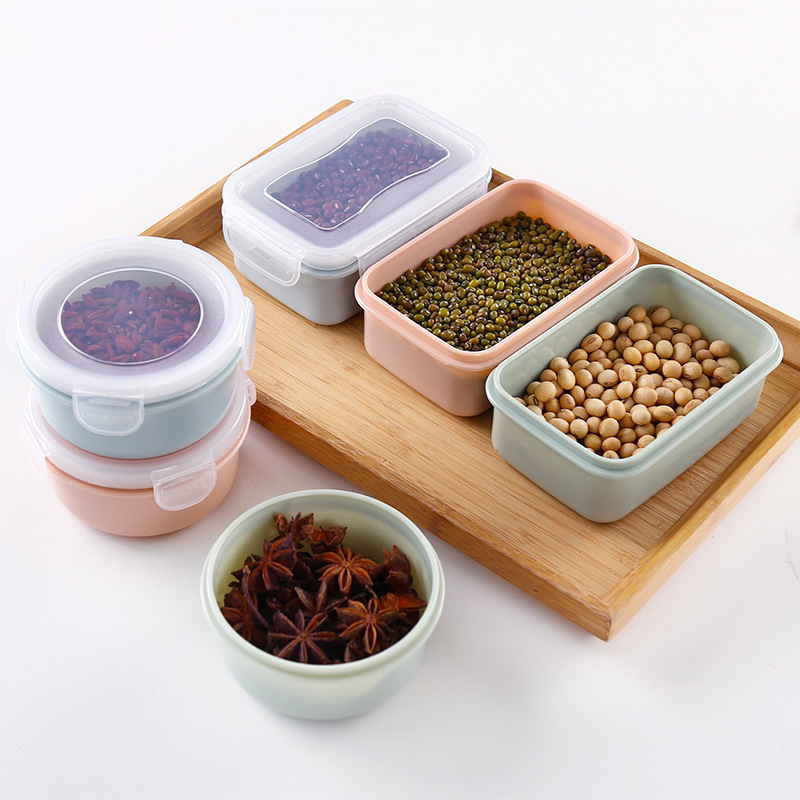 Plastic Microwave Oven Lunch Box Kitchen Rectangular Storage Box Sealed Box Food Circle Refrigerator Freshness Box
