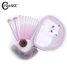 CHMAKE 12pcs High Quality Makeup Brushes Set Pink Handle comb hair brush professional Tools Kit makeup case