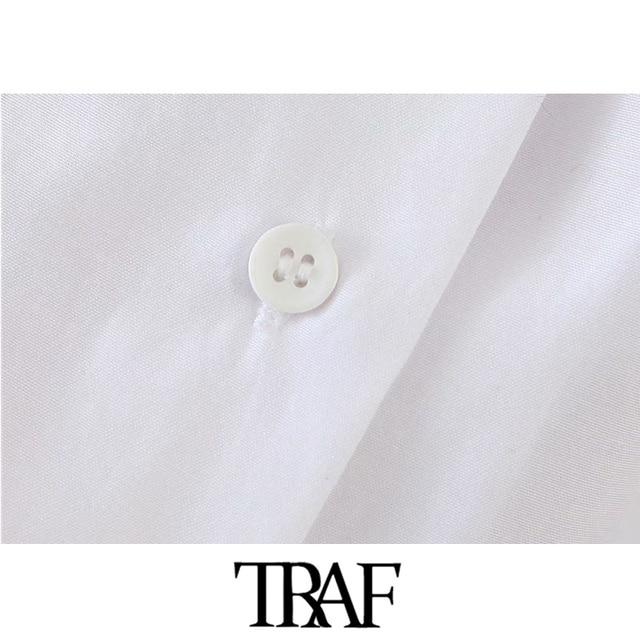 TRAF Women Fashion Button-up Loose Irregular Blouses Vintage Lantern Sleeve Side Vents Female Shirts Blusas Chic Tops 4