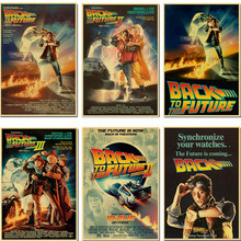 Sci-fi Back to The Future Classic Film di Propaganda Retro Poster Auto Parete Della Tela di canapa di Arte FAI DA TE Sticker Home Bar art Poster Decor(China)