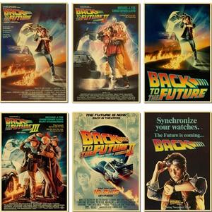 Sci-fi Back to The Future Classic Film Propaganda Retro Poster Car Art DIY Wall Canvas Sticker Home Bar Art Posters Decor