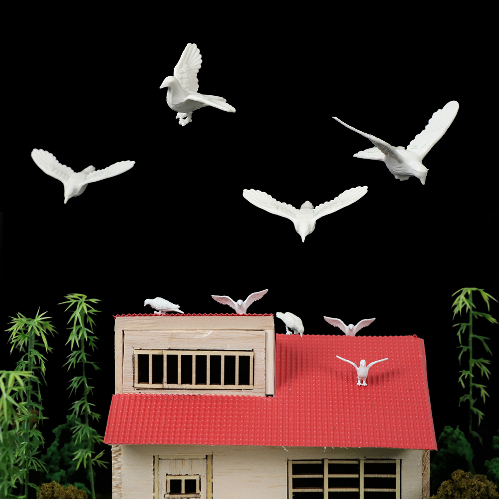 10pcs Miniatur Model Pigeons Flying Bird For Landscape Layout Kits for Diorama Architecture Scene Making Material