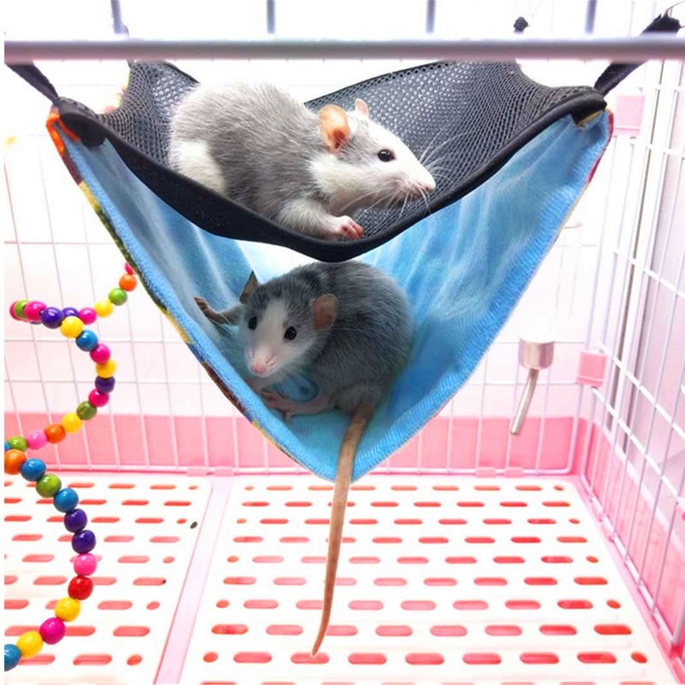 Hamster Squirrel Hammock Small Animals Summer Autumn Breathable Durable Canvas Double Layer Hanging Sleeping Cages Pet Supplies