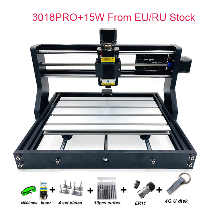 RU/EU Warehouse Arrival Upgraded DIY CNC 3018 PRO Laser Router Machine Engraver With GRBL SOftware 500MW 2500MW 5.5W 15W Mould-in Wood Routers from Tools