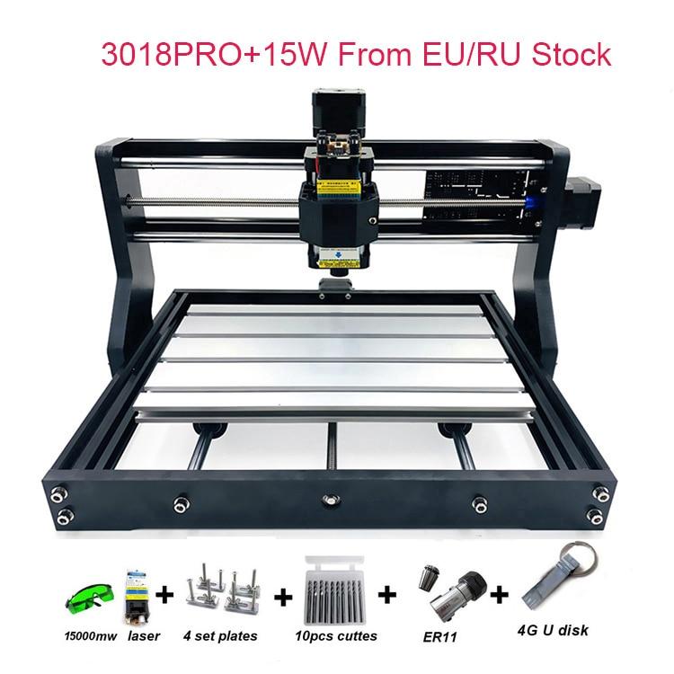RU/ue entrepôt arrivée mis à niveau bricolage CNC 3018 PRO Laser routeur Machine graveur avec logiciel GRBL 500MW 2500MW 5.5W 15W moule