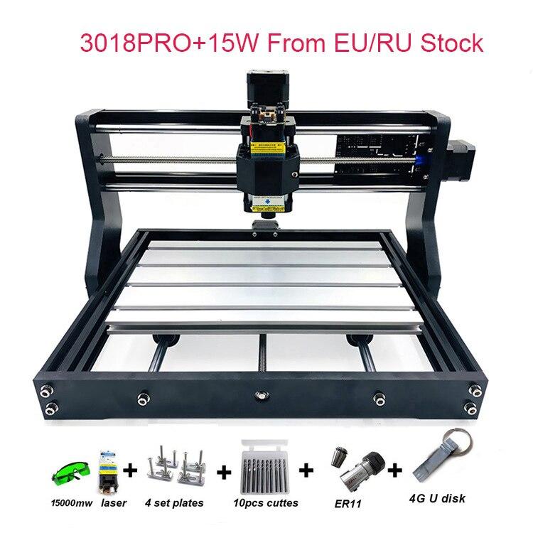 Ru/chegada do armazém da ue atualizado diy cnc 3018 pro máquina de roteador a laser gravador com software grbl 500 mw 2500 mw 5.5 w 15 w molde