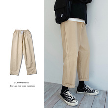 Drawstring Casual Pants Men's Fashion Solid Color Cotton Straight Pants Men Streetwear Wild Loose Tooling Trousers Mens S-2XL