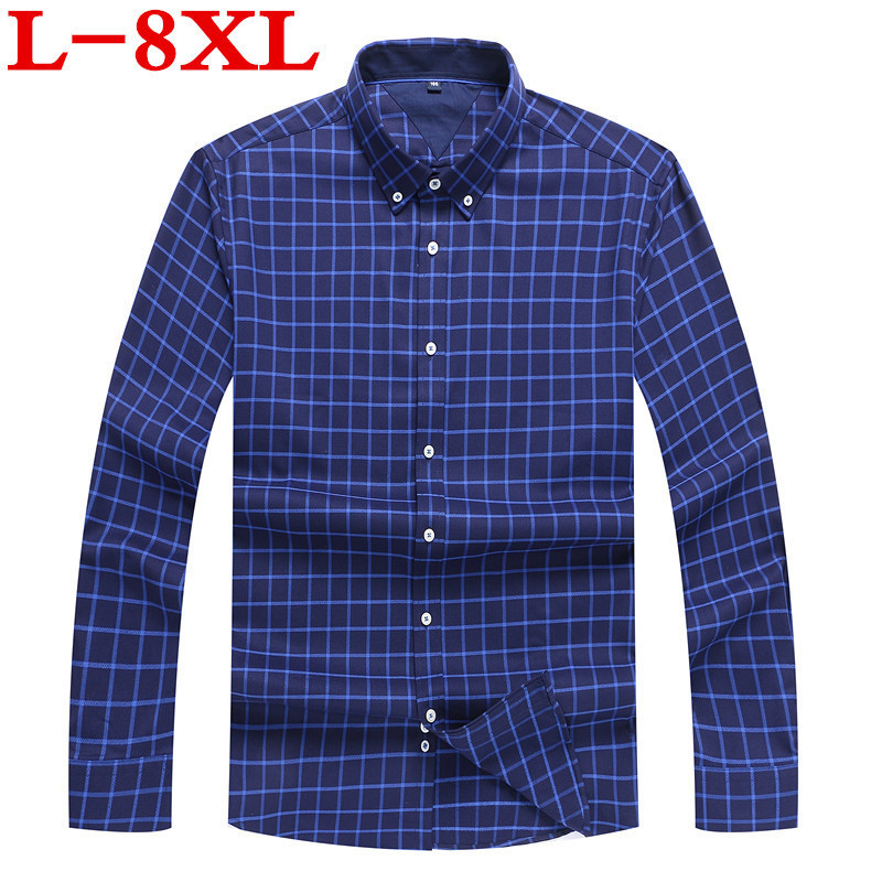 Plus Size 8XL 7XL 6XL New Arrival Long Sleeve Men Shirts Cotton Formal Dress Shirt Male Fashion Loose Fit Plaid Casual Shirt Men
