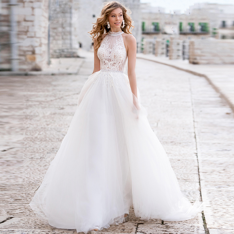 Eightale Tulle Wedding Dresses 2020 Beading Halter Sleeveless Lace Appliques Button A Line Bridal Gowns Vestido De Noiva