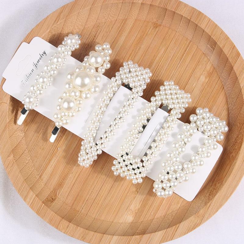 5Pcs//Set Pearl Hair Clip Barrettes Fashion For Women Hairpin Accessories @