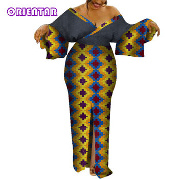 Sexy V-neck African Dresses for Women Long Robe Africaine Ankara Dress Lady Party Robe African Clothes for Women WY7931 ankara african dresses for women 2019 new african clothing african leopard print dress long loose maxi robe africaine femme