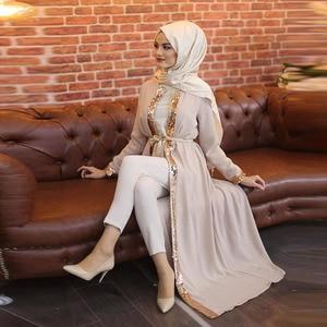 Ramadan Eid Muslim Hijab Dress Abaya Dubai Cardigan Open Abayas for Women Kaftan Islamic Clothing Robe Longue Femme Musulmane