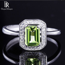 باجو رينجن 100% خاتم فضة حقيقي للمرأة مع مستطيل 7*5 مللي متر حجر كريم أوليفين طبيعي مجوهرات راقية هدايا الزفاف