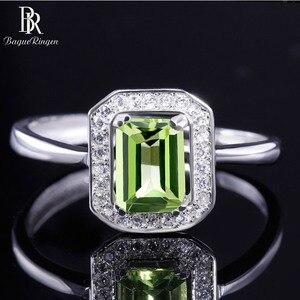 Image 1 - Bague Ringen 100% Real Sterling Silver Ring Voor Vrouw Met Rechthoek 7*5Mm Natuurlijke Olivijn Gemstone Fine Jewelry bruiloften Geschenken