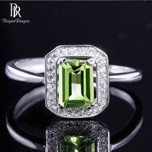 バゲringen 100% リアルスターリングシルバーリング女性のための長方形 7*5 ミリメートルナチュラルカンラン石宝石ファインジュエリー結婚式のギフト