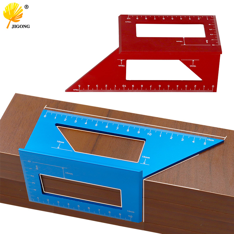 3D Aluminum Alloy Angle Measuring Square Woodworking Scribe Measuring Ruler Measure Tool With Gauge And Ruler