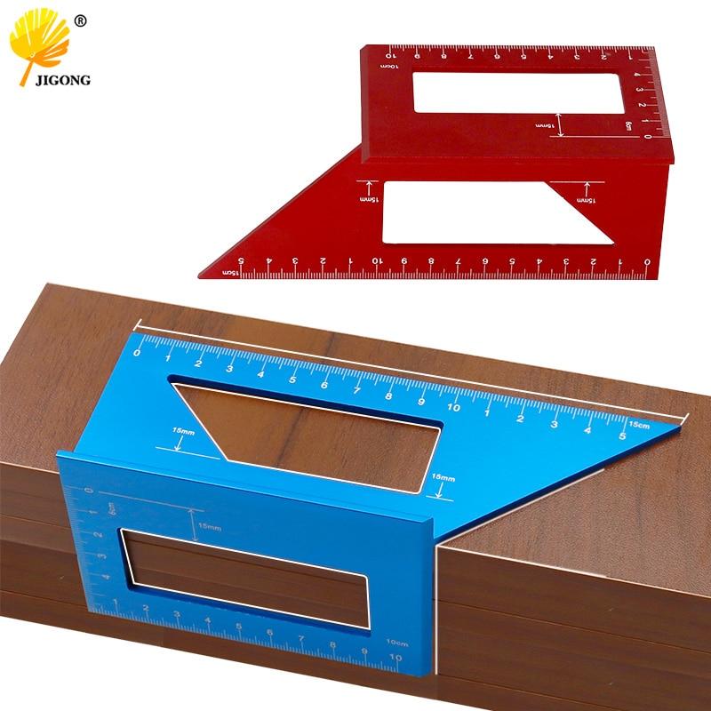 Herramienta de medición de regla de medición cuadrada para carpintería en ángulo de aleación de aluminio 3D con manómetro y regla