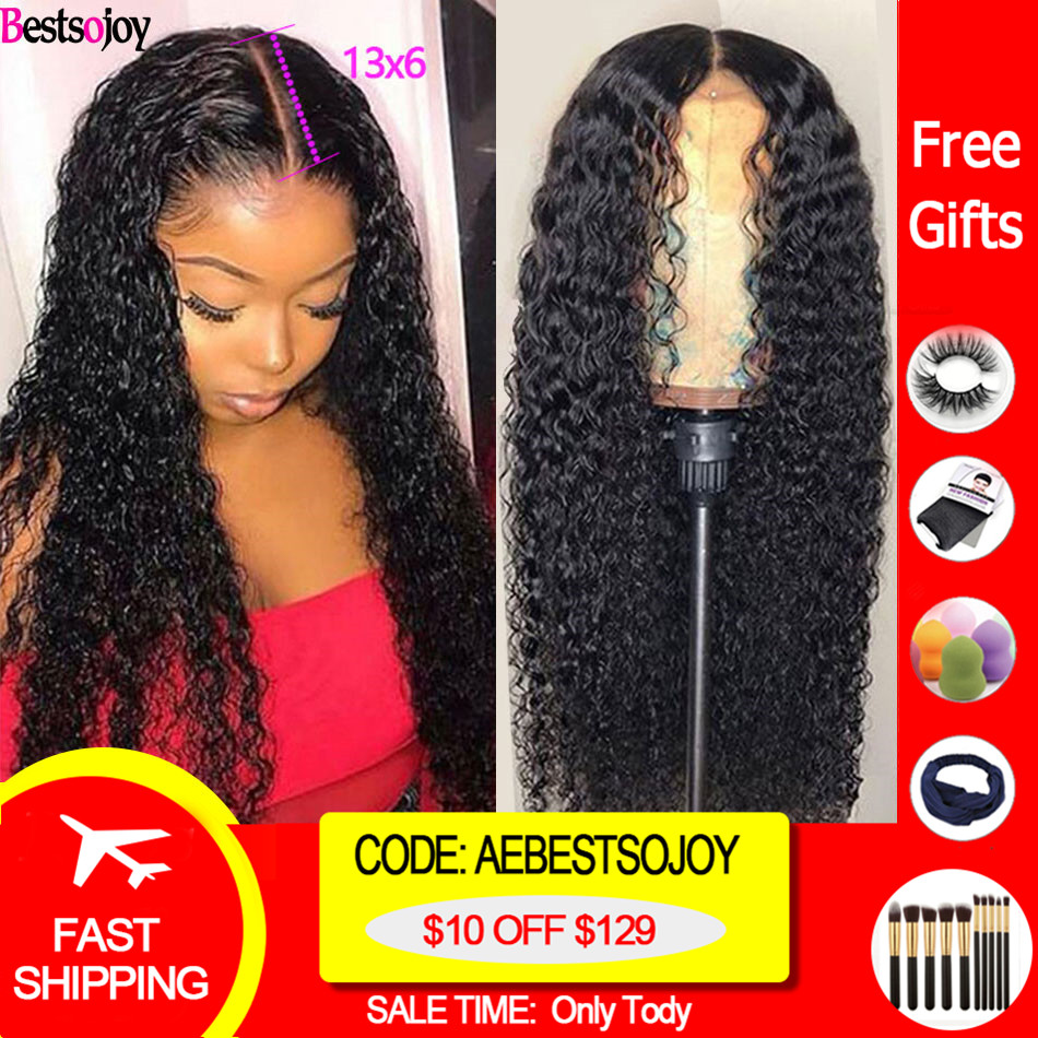 Bestsojoy 360 Lace Frontal Wig 13X6 Kinky Curly Lace Front Human Hair Wigs Curly Human Hair Wigs 180% Density Remy Brazlian Hair