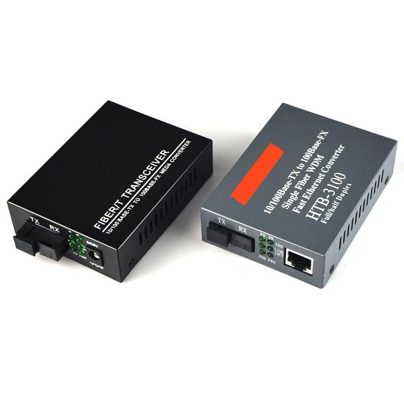 1Pair 10 100Mbps Single mode SC Fast Media Ethernet Converter 10 100M Optical Fiber Media Converter 4 Ports RJ45 to 1 fiber SC in Fiber Optic Equipments from Cellphones Telecommunications