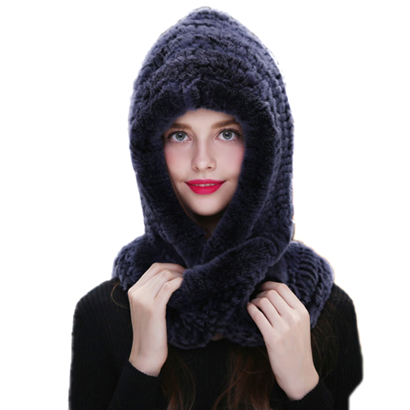 Women One-pieces Winter Hats And Scarf Real Rex Rabbit Russia Earmuffs Snow Cap Hand-Woven 8Colors