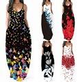 2021 Newest Hot Women's Summer Boho Floral Long Maxi Evening Party Beach Dress Floral Sleeveless V Neck Sundress
