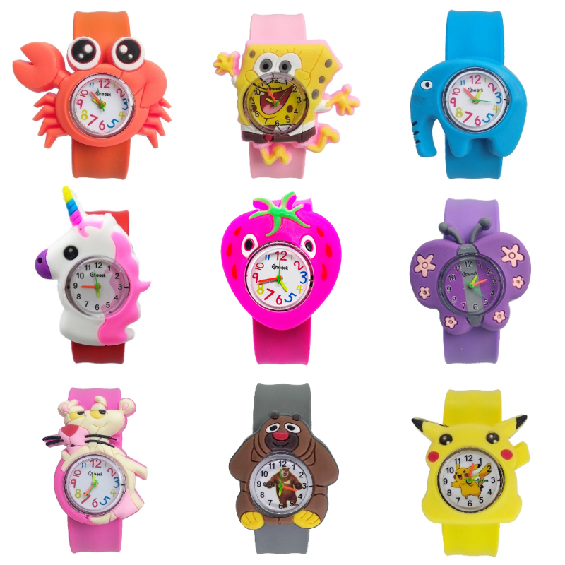 1pcs/lot Free Shipping High Quality Silicone Slap Watch, Kids Slap Watches Animal Team Children Watch, Girls Boys Students Clock