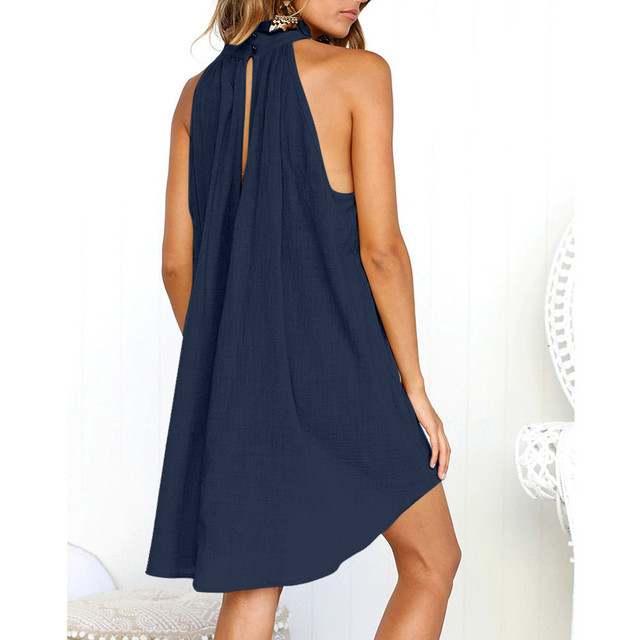 Turtleneck Dress Above Knee Solid Color Irregular Dress Ladies Summer Beach Style Sleeveless Party Sundress Loose Bohemian Robe 5