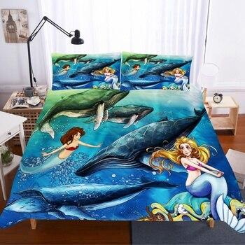 Juego de cama de sirena de pelo marrón, decoración de dormitorio, Doona Ocean Background, funda de edredón hipoalergénica, 1 funda de edredón con funda de almohada