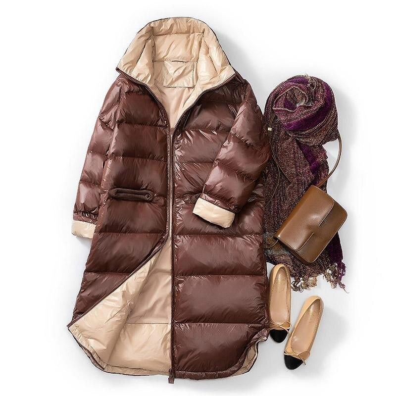 Winter Slim Ultra Light White Duck Down Jacket Women Down Long Coat Parkas Female Warm Parkas Snow Outwear
