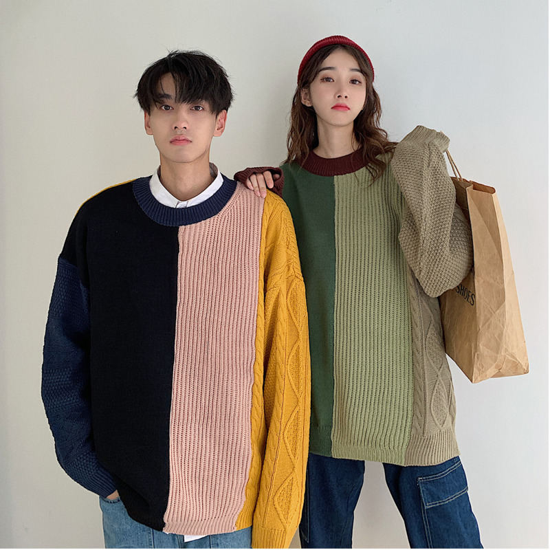 Winter Sweater Men Fashion Contrast Casual O-Neck Knit Pullover Men Streetwear Hip Hop Loose Long Sleeve Sweter Male Clothes