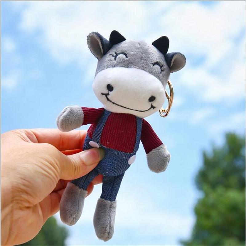 1PCS Bull Symbol Of The Year Cartoon Calf Pendant Stuffed Toys For Girls Cow Doll Plush Toy Small Doll Ragdoll Ornament 15CM