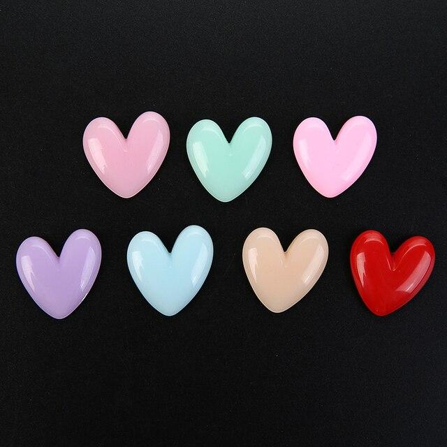 Фото 10 шт милый кулон в виде сердца из смолы с плоской задней частью
