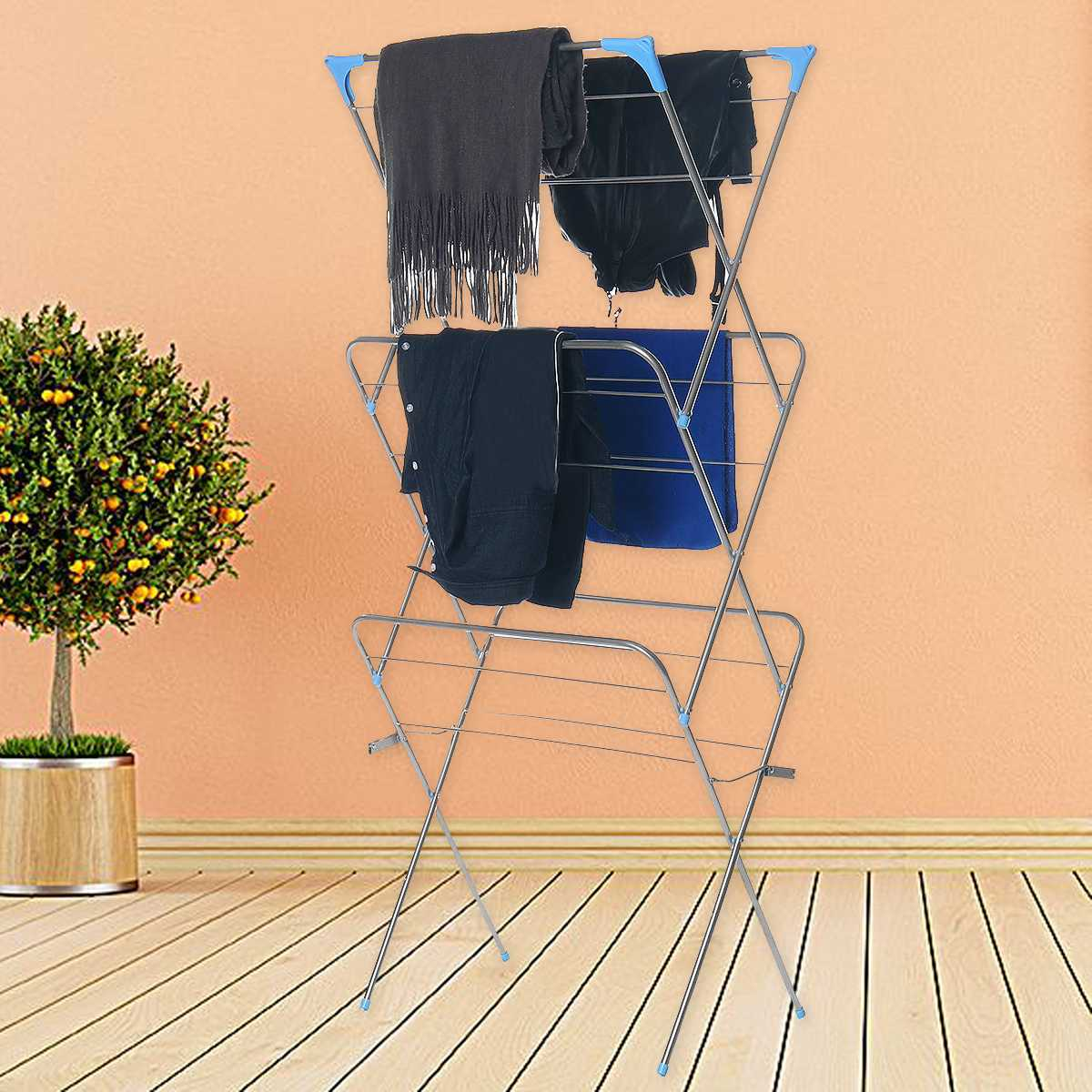 Three Layers Floor-Standing Clothes Drying Rack Hangers Foldable Clothes Airer Iron Durable Clothes Drying Airer Rack For Towel