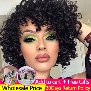 Image 1 - Short Pixie Wig Bouncy Curl Human Hair Wig 6inch 8inch Summer Sale No Lace Closure Wig Natural Color For Women Free Shipping