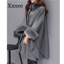 Элегантное шерстяное пальто длинное женское с воротником из