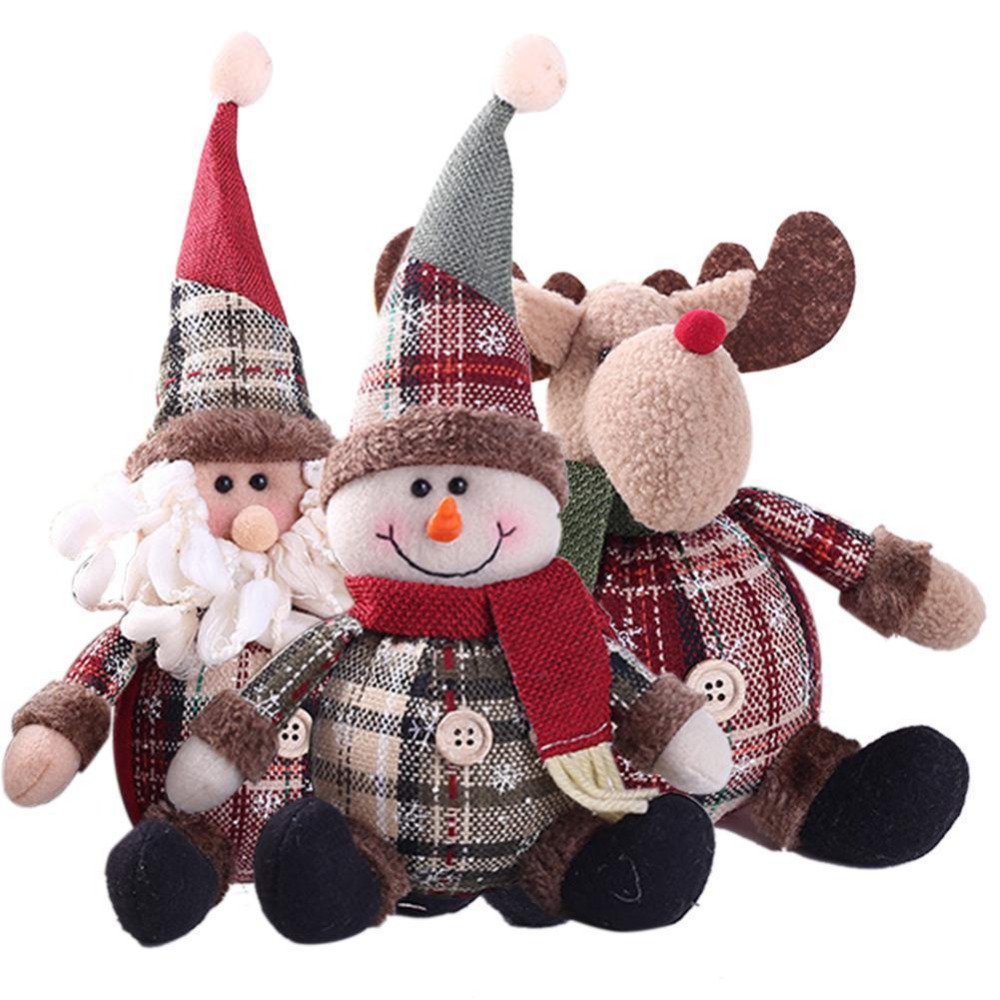 Merry Christmas Tree Ornaments Cartoon Christmas Doll Toy Children Snowflake Plaid Santa Claus Elk Doll Home New Year Gifts Toys