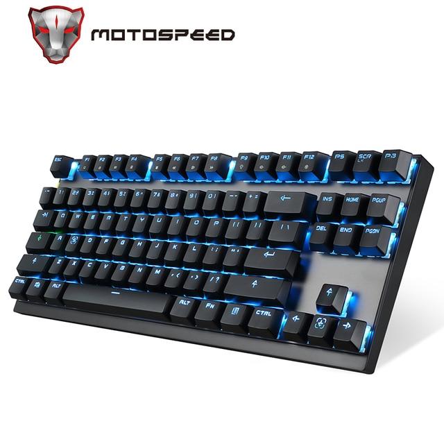 Motospeed GK82 type c 2.4G bezprzewodowa/przewodowa mechaniczna klawiatura do gier 87Key czerwony przełącznik akumulatorowa lampa LED podświetlenie na PC Laptop