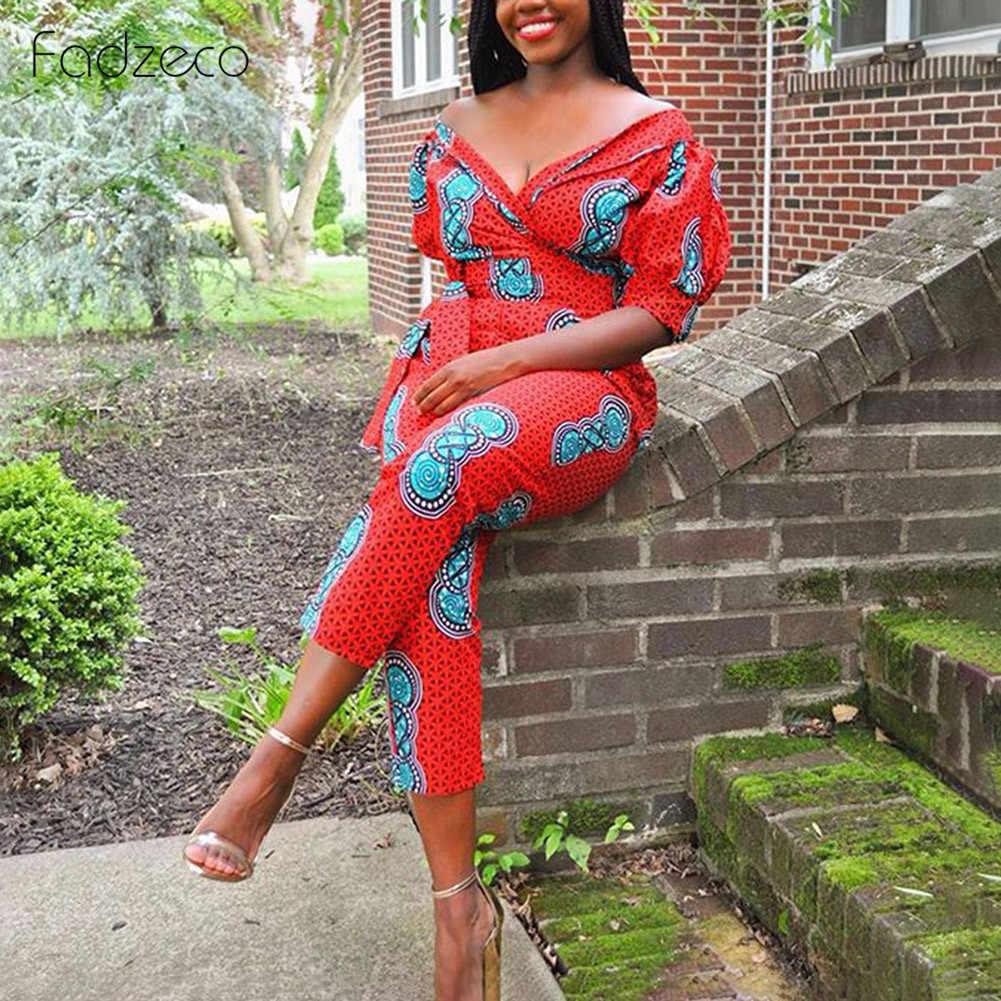 Fadzeco 2019 nueva ropa Africana otoño traje de Mujer Africana mono de pantalón Dashiki hombros descubiertos vestidos africanos para mujer