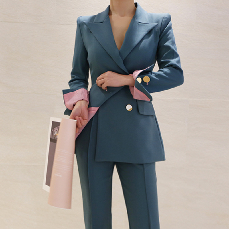 Женский костюм, осень 2019, новая мода, повседневный темперамент, элегантный, свободный, сплошной цвет, костюм, брюки, двубортный, из двух