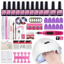 Nail Set With 80W UV LED Lamp Dryer Electric drill 10pcs Polish Varnish Manicure Tools For Art