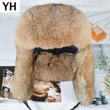 Мужская зимняя шапка-бомбер ручной работы с натуральным кроличьим мехом, уличная супер теплая шапка из натурального кроличьего меха, шапка с натуральным кроличьим мехом