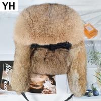 Handmade Männer Winter Echt Kaninchen Fell Bomber Hut Im Freien Super Warme 100% Natürliche Kaninchen Fell Hüte Voll Pelt Echtem Kaninchen pelz Kappe