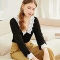 Женский трикотажный свитер в стиле ретро, водорастворимый тонкий трикотажный свитер с рукавами-коллажами и V-образным вырезом, весна-осень ...