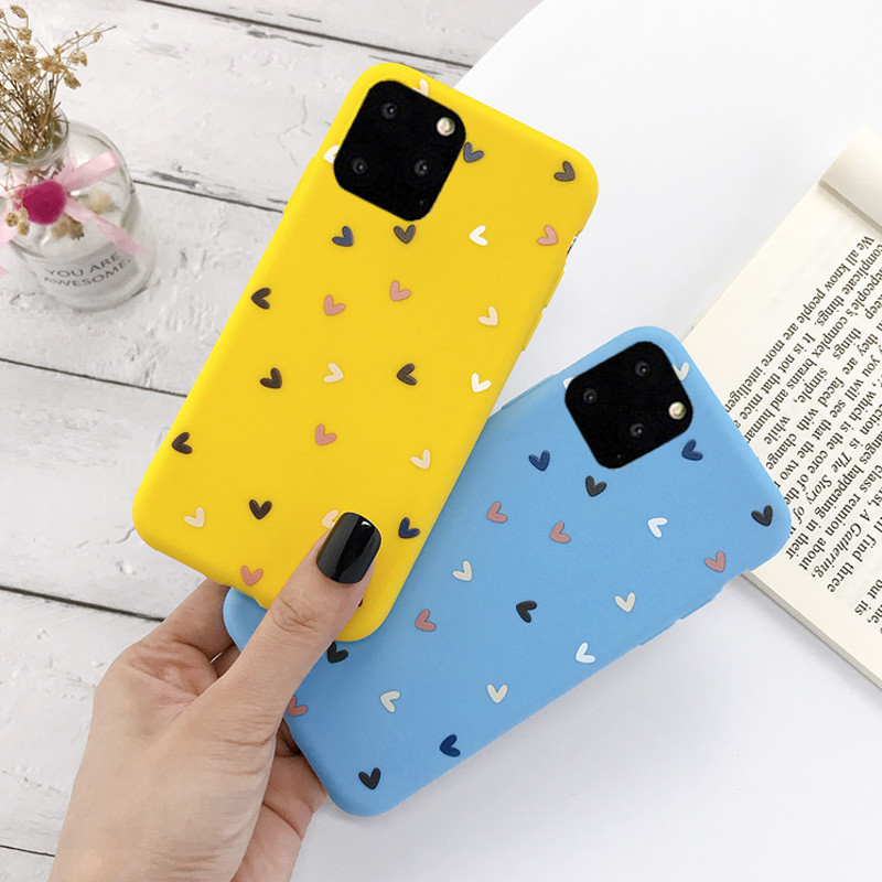 Lovebay Candy Love Heart Phone Case For IPhone 11 Pro X XS XR Max 7 8 6 6s Plus Soft TPU Silicone Solid Color Back Cover Fundas