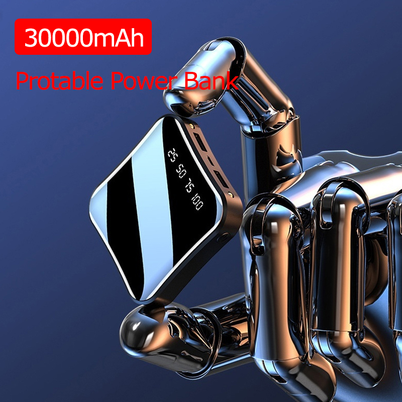 30000mAh Mini Portable Power Bank Full Screen Digital Display Powerbank Fast Charging External Battery For IPhone Xiaomi Samsung