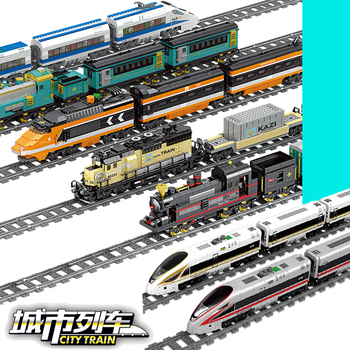 Tren de la ciudad eléctrico renacimiento rieles función de potencia creador técnico Motor bloques de construcción ladrillos juguetes para niños
