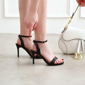 Image 5 - ZawsThia 2020 קיץ פטנט PU צהוב לבן 9cm דק עקבים גבוהים משאבות פיפ בוהן סקסי אישה חתונה נעלי סנדלי גודל גדול 33 50
