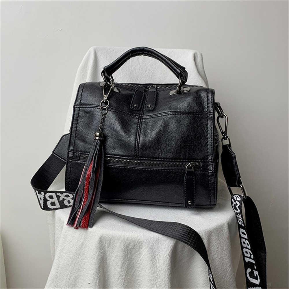 Bolso Vintage de lujo con borla de cuero de marca, bolsos de diseño para mujer, bolsos de mano de alta calidad para mujer, 2019 Bolsa