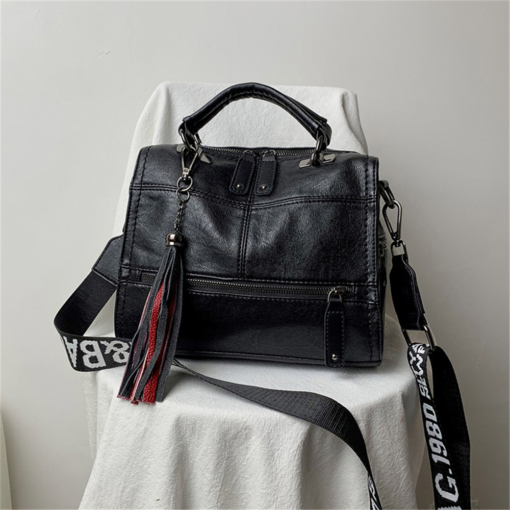 Hot Vintage Leather Tassel Bag 6